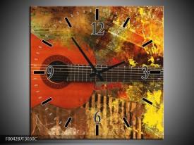 Wandklok op Canvas Gitaar | Kleur: Rood, Oranje, Geel | F004287C