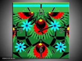 Wandklok op Canvas Abstract | Kleur: Groen, Rood, Blauw | F004331C