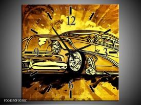 Wandklok op Canvas Oldtimer | Kleur: Geel, Zwart, Goud | F004340C