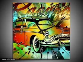 Wandklok op Canvas Oldtimer   Kleur: Groen, Geel, Rood   F004349C