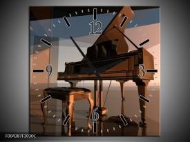 Wandklok op Canvas Piano   Kleur: Bruin, Grijs   F004387C