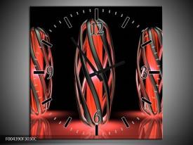 Wandklok op Canvas Design | Kleur: Rood, Zwart | F004390C