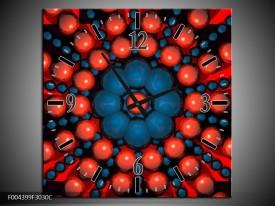 Wandklok op Canvas Design | Kleur: Blauw, Rood | F004399C