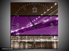 Wandklok op Canvas Brug | Kleur: Paars, Grijs | F004441C
