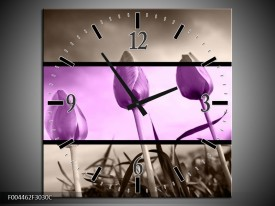 Wandklok op Canvas Tulp | Kleur: Paars, Grijs, Zwart | F004462C
