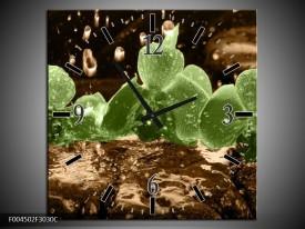 Wandklok op Canvas Orchidee | Kleur: Groen, Bruin | F004502C