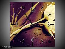 Wandklok op Canvas Tulp | Kleur: Bruin, Wit, Paars | F004580C