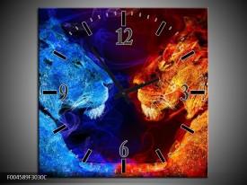 Wandklok op Canvas Leeuw | Kleur: Rood, Blauw, Rood | F004589C