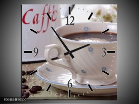 Wandklok op Canvas Koffie | Kleur: Wit, Bruin | F004624C