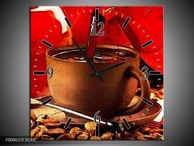 Wandklok op Canvas Koffie | Kleur: Wit, Bruin, Rood | F004631C