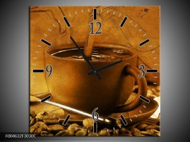 Wandklok op Canvas Koffie | Kleur: Wit, Bruin, Geel | F004632C
