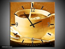 Wandklok op Canvas Koffie | Kleur: Bruin, Geel | F004646C