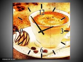 Wandklok op Canvas Koffie | Kleur: Bruin, Geel | F004659C