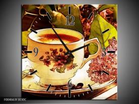 Wandklok op Canvas Keuken | Kleur: Bruin, Geel | F004663C