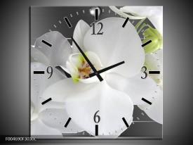Wandklok op Canvas Orchidee | Kleur: Grijs, Wit | F004690C