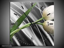 Wandklok op Canvas Tulp | Kleur: Grijs, Wit, Groen | F004703C