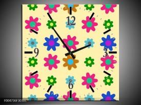 Wandklok op Canvas Modern | Kleur: Roze, Blauw, Groen | F004736C
