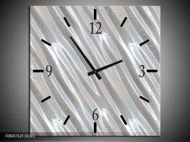 Wandklok op Canvas Modern | Kleur: Zilver, Wit | F004742C