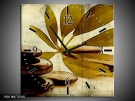 Wandklok op Canvas Spa | Kleur: Bruin, Zwart | F004768C