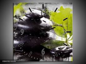 Wandklok op Canvas Spa | Kleur: Groen, Zwart, Wit | F004781C