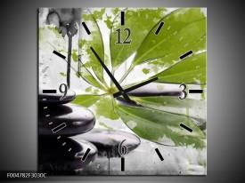 Wandklok op Canvas Spa | Kleur: Groen, Zwart, Wit | F004782C