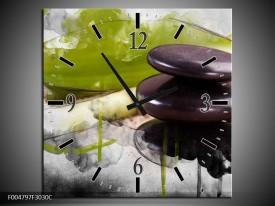 Wandklok op Canvas Spa | Kleur: Groen, Zwart, Grijs | F004797C