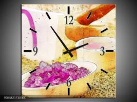 Wandklok op Canvas Spa | Kleur: Roze, Geel, Bruin | F004821C
