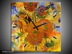 Wandklok op Canvas Klassiek | Kleur: Geel, Blauw, Bruin | F004851C