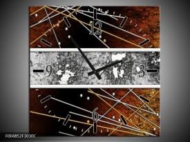 Wandklok op Canvas Modern | Kleur: Bruin, Grijs, Geel | F004852C