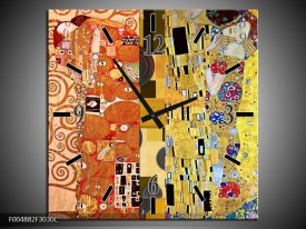 Wandklok op Canvas Modern | Kleur: Geel, Bruin, Zwart | F004882C