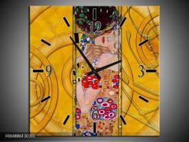 Wandklok op Canvas Modern   Kleur: Geel, Roze, Rood   F004886C
