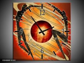 Wandklok op Canvas Modern   Kleur: Bruin, Oranje, Zwart   F004888C