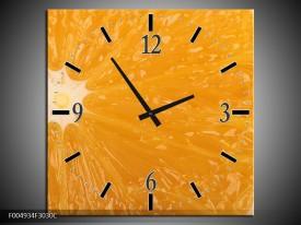 Wandklok op Canvas Keuken | Kleur: Geel, Oranje, Bruin | F004934C