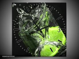 Wandklok op Canvas Keuken | Kleur: Groen, Wit, Zwart | F004936C