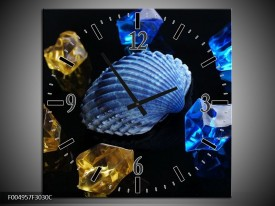 Wandklok op Canvas Spa | Kleur: Blauw, Geel, Zwart | F004957C