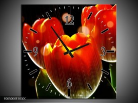 Wandklok op Canvas Tulp   Kleur: Oranje, Geel, Rood   F005000C