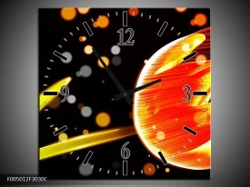 Wandklok op Canvas Tulp | Kleur: Oranje, Zwart | F005012C