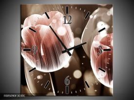 Wandklok op Canvas Tulp   Kleur: Bruin, Grijs   F005090C