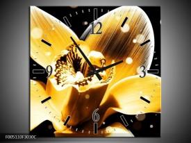 Wandklok op Canvas Bloem | Kleur: Geel, Zwart | F005133C