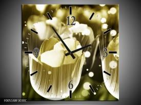 Wandklok op Canvas Tulp | Kleur: Geel, Zwart | F005148C