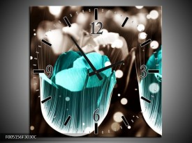 Wandklok op Canvas Tulp | Kleur: Blauw, Grijs | F005156C