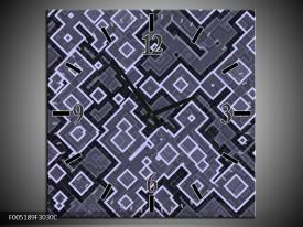 Wandklok op Canvas Modern   Kleur: Grijs, Zwart   F005189C