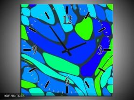 Wandklok op Canvas Modern | Kleur: Blauw, Groen | F005201C