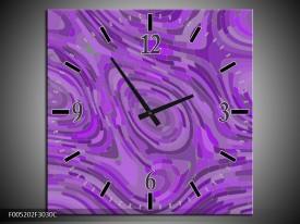 Wandklok op Canvas Modern   Kleur: Paars   F005202C