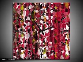 Wandklok op Canvas Modern   Kleur: Rood, Wit, Geel   F005218C
