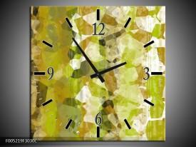 Wandklok op Canvas Modern   Kleur: Geel, Groen   F005219C