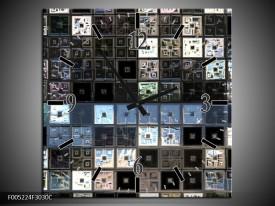Wandklok op Canvas Modern   Kleur: Blauw, Grijs, Zwart   F005224C