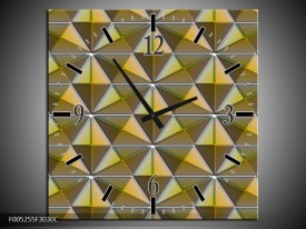 Wandklok op Canvas Modern | Kleur: Geel, Groen, Grijs | F005255C