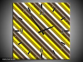 Wandklok op Canvas Modern | Kleur: Geel, Zwart, Bruin | F005256C