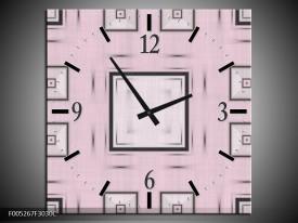 Wandklok op Canvas Modern | Kleur: Roze, Zwart, Grijs | F005267C